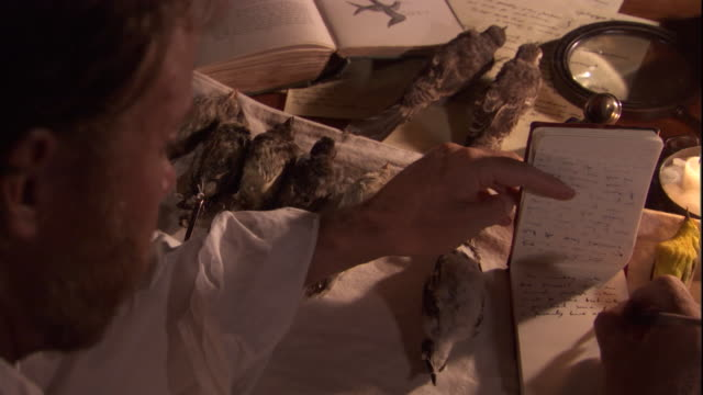 Naturalist Charles Darwin writes in a small notebook. Available in HD.