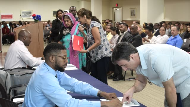 Naturalization ceremony at the field office of the United States Citizenship and Immigration Services in Philadelphia PA USA on August 28 2017 During...