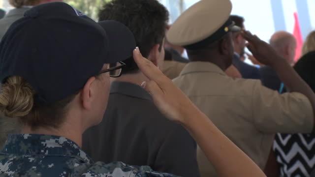 kswb naturalization ceremony held on uss rafael peralta - 市民点の映像素材/bロール
