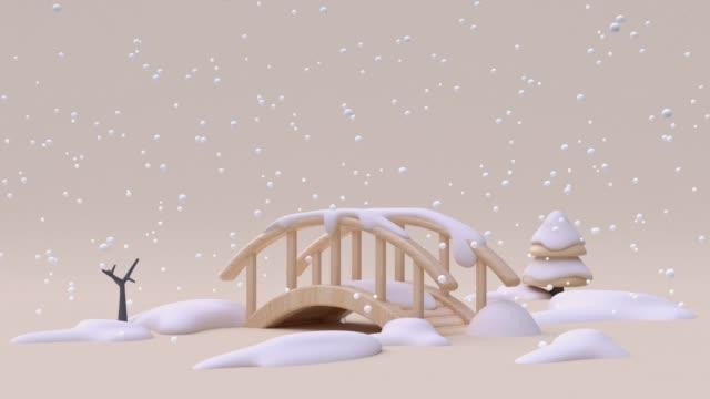 vídeos y material grabado en eventos de stock de naturaleza paisaje puente dibujos animados madera crema blanca nieve invierno temporada de invierno año navidad concepto 3d renderizado - un solo objeto