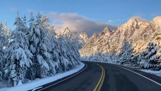 nature photographer captured a picturesque scene of snow-covered trees and mountains while driving through grand teton national park, wyoming, on... - grand teton national park stock videos & royalty-free footage