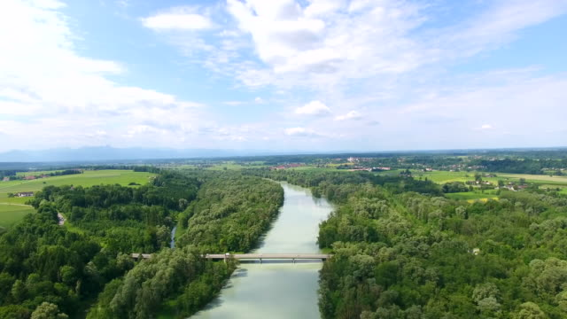 nature, trees and river inn, bavaria, germany. drone view, aerial view - fluss stock-videos und b-roll-filmmaterial
