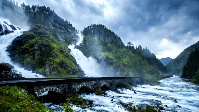 nature-scape cinemagraphs - famous waterfall in west norway - cinemagraph stock videos & royalty-free footage