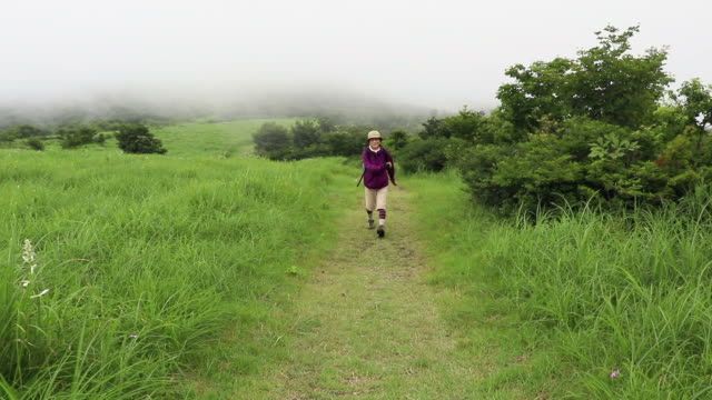 Nature-scape Cinemagraphs Japanese Senior Woman Enjoys Hiking