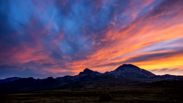 nature-scape cinemagraphs - sunset at gaustatoppen, norway - telemark stock videos and b-roll footage