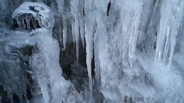 4K Nature/Wildlife/Weather - melting thick icicles close up loop
