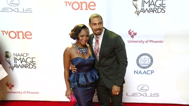 stockvideo's en b-roll-footage met naturi naughton and omari hardwick and at the 46th annual naacp image awards arrivals at pasadena civic auditorium on february 06 2015 in pasadena... - pasadena civic auditorium