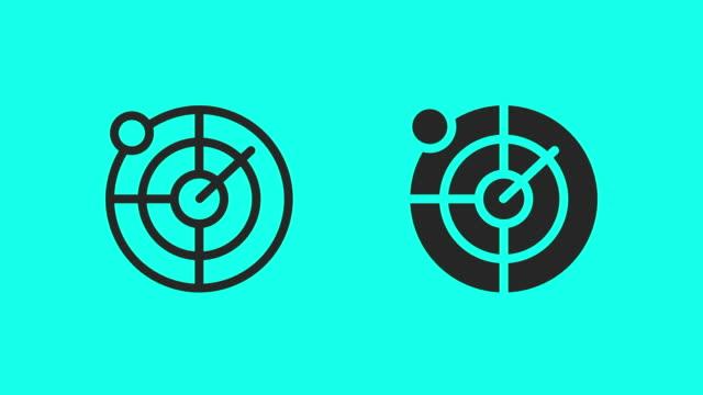 vidéos et rushes de icônes de radar nautique - vector animate - boussole