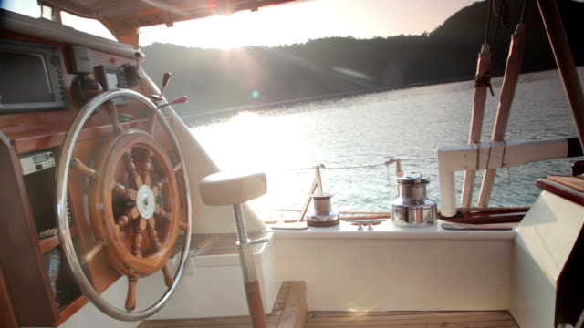nautical vessel boat deck ships wheel - helm stock videos and b-roll footage