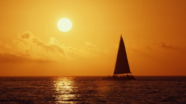 nautical vessel sailing against golden sunset - sailing stock videos & royalty-free footage