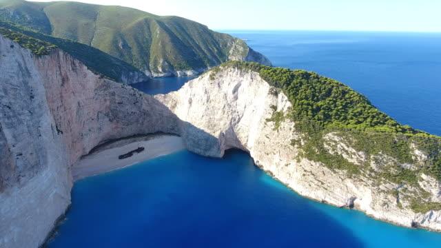 navagio beach, zakynthos island, greece - greek islands stock videos and b-roll footage