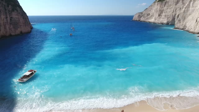 navagio beach, zakynthos island, greece - bay of water stock videos & royalty-free footage