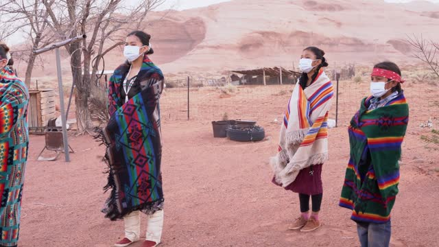 navajo children wearing traditional clothes and face masks - indigenous north american culture stock videos & royalty-free footage
