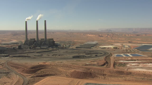 ws aerial navajo generating station with landscape / arizona, united states - coal fired power station stock videos and b-roll footage