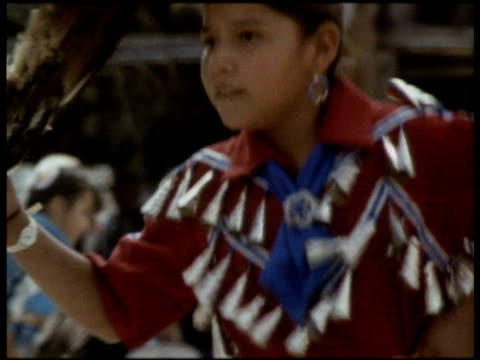 navajo girl performs traditional native dance in traditional clothes north america - navajo culture stock videos & royalty-free footage