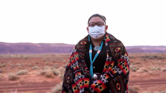navajo girl wearing face mask - indigenous peoples of the americas stock videos & royalty-free footage