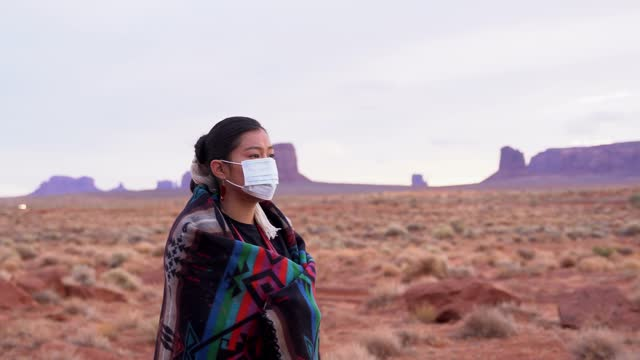 navajo girl wearing face mask - indigenous north american culture stock videos & royalty-free footage
