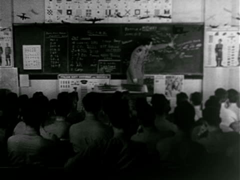 Naval cadets seated in classroom Lieutenant teaching Battle of Midway chart on blackboard teacher holding model of aircraft carrier MS Cadet...