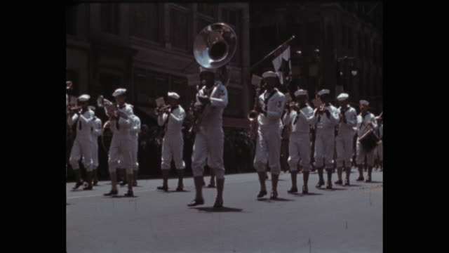1941 naval marching band, miliatry parade on 5th avenue, new york city, ny, usa - us navy stock videos & royalty-free footage