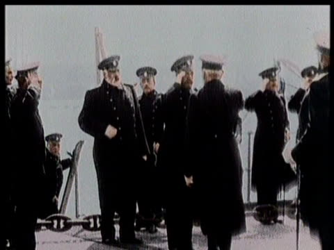 naval officers saluting each other on a ship / sailors at attention for inspection / - turkey middle east stock videos & royalty-free footage