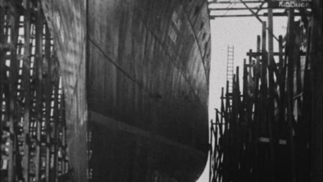 naval ship is launched / france - 1917 stock-videos und b-roll-filmmaterial