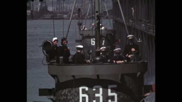 naval ships maneuvering near dock in ny harbor, nyc, ny, usa - sailor stock videos & royalty-free footage