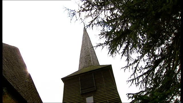 church being attacked by woodpeckers england essex nr brentwood navestock ext various general views of st thomas' church low angle church's cedarwood... - spire stock videos & royalty-free footage