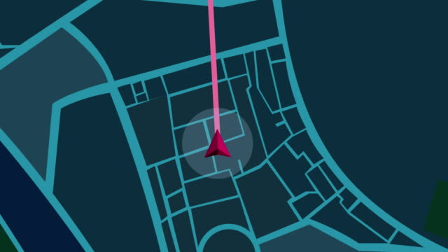 navigation city map  gps navigation, localization night animation. - transportation stock videos & royalty-free footage