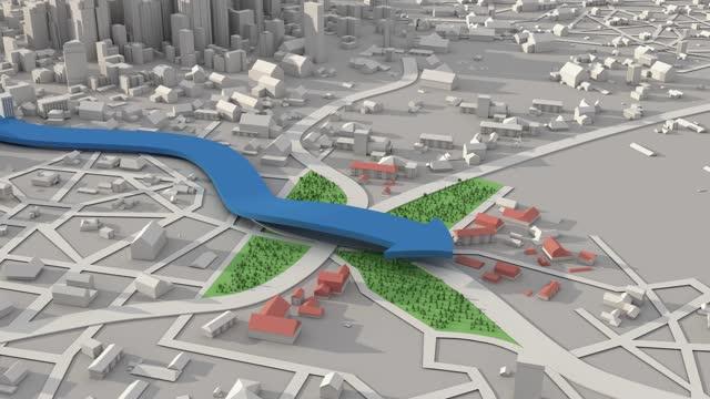 navigazione 3d city map navigazione gps, navigazione itinerario - direzione video stock e b–roll