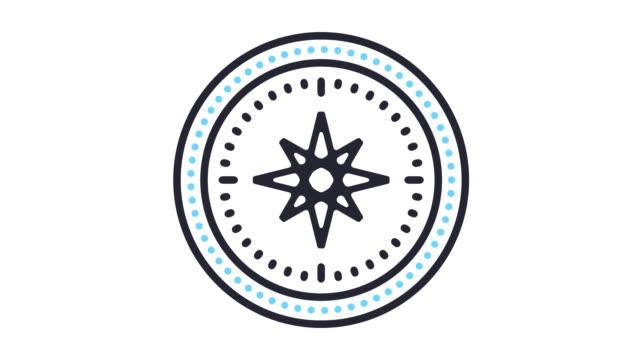 vidéos et rushes de animation d'icône de navigation - boussole