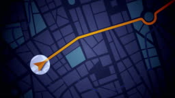 GPS Navigation, Localization. Seamless loop. 2D view.