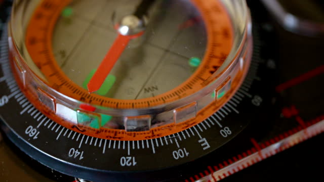 navigational compass with moving needle - pair of compasses stock videos & royalty-free footage