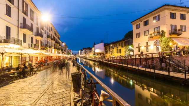 4k - naviglio grande canal in milan - milan stock videos & royalty-free footage