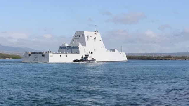 us navy guided missile destroyer uss zumwalt arrives at joint base pearl harborhickam hawaii - stealth stock videos and b-roll footage