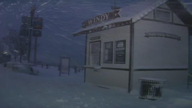vídeos de stock, filmes e b-roll de navy pier in snow storm at navy pier on december 11 2000 in chicago illinois - chuva congelada