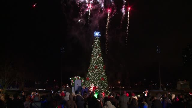 wgn navy pier lit its first annual christmas tree in polk bros park wednesday evening with a little help from santa on nov 30 2016 - クリスマスツリー点灯式点の映像素材/bロール
