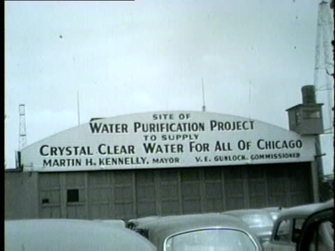 navy pier water filtration plant exterior in chicago 1954 - 1954 stock videos and b-roll footage