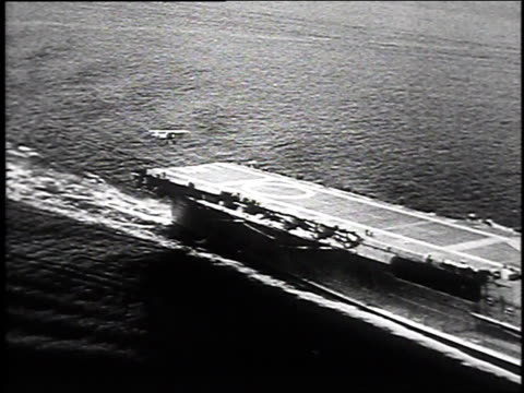 1930 aerial navy plane landing on deck of uss lexington / hampton roads, virginia, usa - 1930 stock videos & royalty-free footage