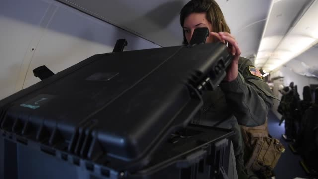 us navy sailors assigned to the 'golden eagles' conduct an antisubmarine warfare exercise with a p8a poseidon aircraft above the baltic sea as part... - arpone video stock e b–roll