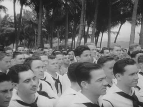 navy sailors at field mass - oahu stock videos & royalty-free footage