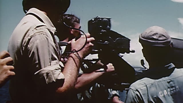 s navy sailors in gunnery practice with m1919 machine gun aboard ship / kwajalein atoll marshall islands - marshall islands stock videos & royalty-free footage
