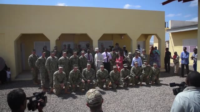 navy seabees from naval mobile construction battalion 1, assigned to combined joint task force-horn of africa, completed and handed over the newly... - horn of africa stock videos & royalty-free footage