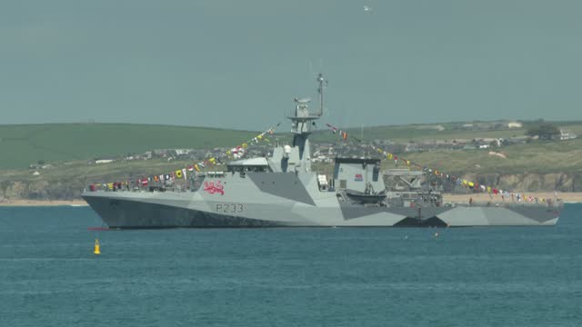 navy ship patrols during the g7 summit in carbis bay, on june 12, 2021 in carbis bay, cornwall. uk prime minister, boris johnson, hosts leaders from... - image stock videos & royalty-free footage