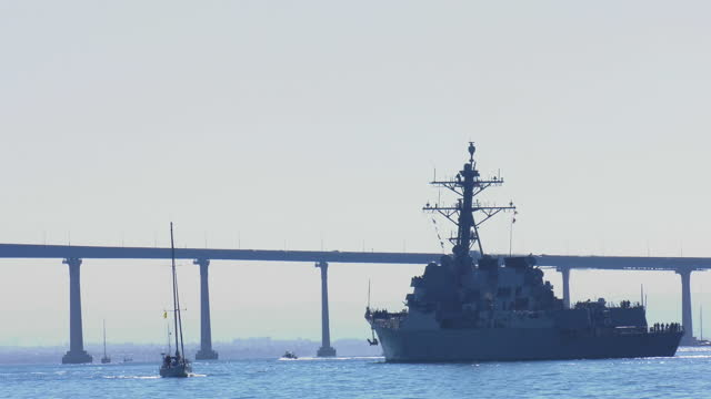 navy warship heading into the san diego harbor - us navy stock videos & royalty-free footage
