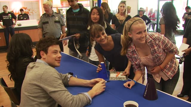 naya rivera cory monteith at the glee live samsung infuse 4g dtr event stevens creek att store at san jose ca - cory monteith stock videos and b-roll footage