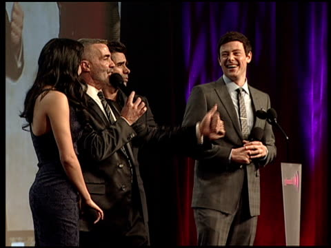 naya rivera cory monteith john stamos auction kisses at 23rd annual glaad media awards in new york ny united states - cory monteith stock videos and b-roll footage