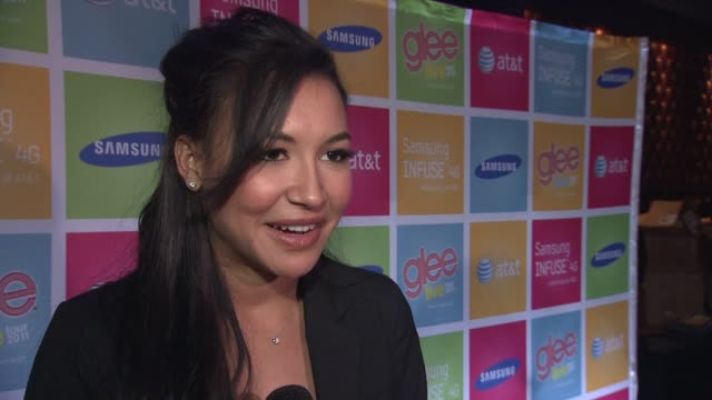 naya rivera on tonight's event on what samsung and att have done for glee and the fans on how much she loves meeting the fans how important it is to... - naya rivera stock videos and b-roll footage