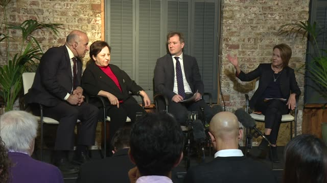 nazanin zaghariratcliffe begins hunger strike in iran prison press conference england london frontline club int monique villa press conference sot... - richard ratcliffe video stock e b–roll