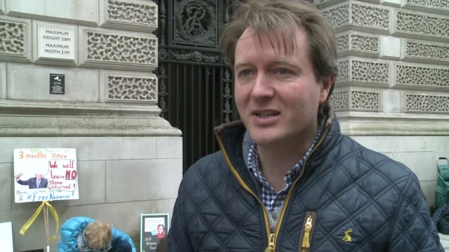 husband marks jailed days with stones at protest england london westminster ext richard ratcliffe interview sot - richard ratcliffe video stock e b–roll