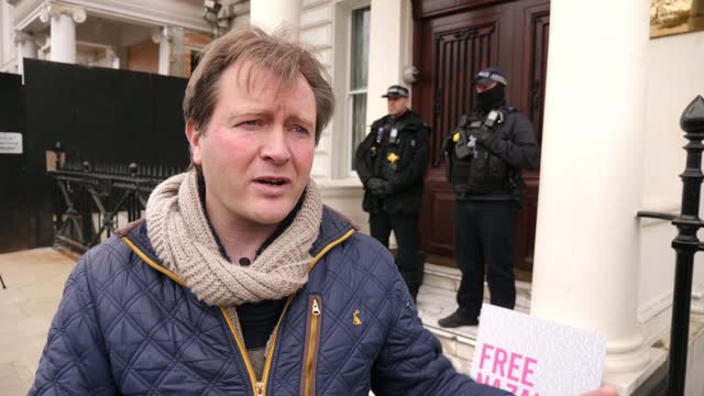 nazanin zaghari-ratcliffe case: speculation release could be linked to uk debt to iran; england: london: iranian embassy: ext richard ratcliffe... - debt stock videos & royalty-free footage